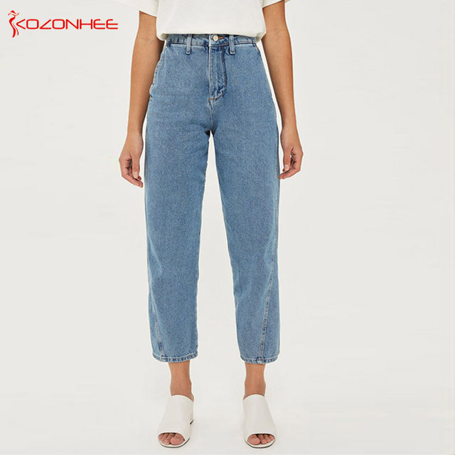 b104ccd97d Loose Casual Straight Jeans Women With High Waist Mom jeans for women  pocket pants
