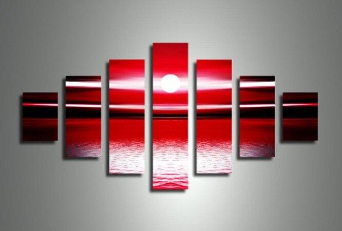 handgeschilderd 7 stuk rood wit landschap olieverfschilderijen op - Huisdecoratie