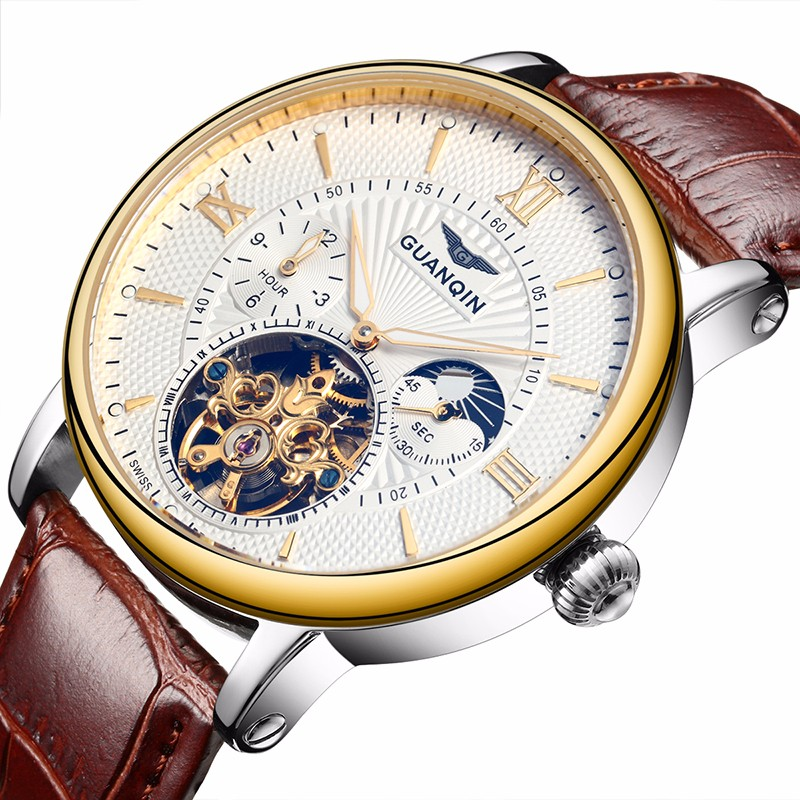 GUANQIN Mens Watches Top Brand Luxury 2017 Gold Sport Mechanical Watch Men Automatic Leather Band Wristwatch relogio masculino A guanqin watch men sport mens watches top brand luxury tourbillon automatic mechanical watch luminous analog clock leather strap