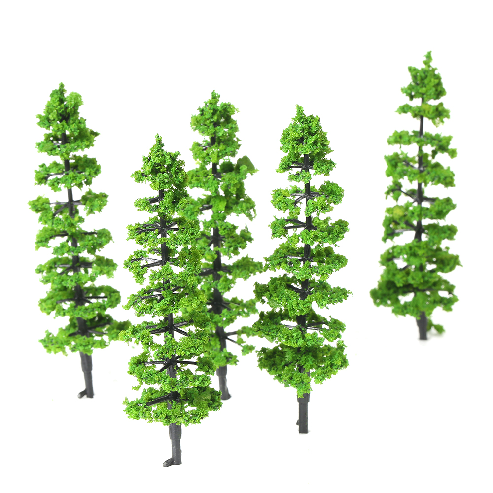 10 Pcs Green Fir Trees Model Plastic Miniature Landscape Scenery Train Mini Layout Rainforest Trees Scale 1:100-1:150