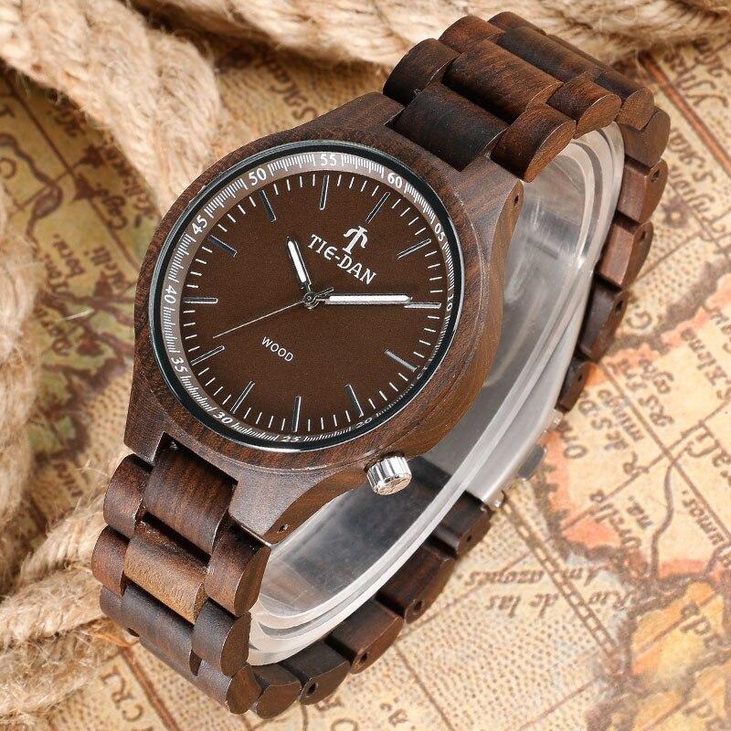 Drak Brown Simple Women Men Quartz-watch Bangle Full Wooden Wrist Watch Nature Wood Modern Handmade Bamboo 2016 Christmas Gifts