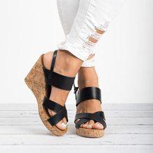 Puimentiua Summer Women Sandals Wedges Peep Toe Shoes High Heels Height Increasi