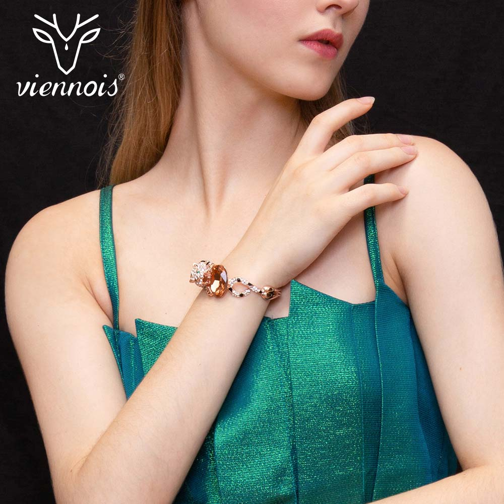 Viennois Bangles Rose-Gold-Color Leopard Party-Bracelet Crystal Full-Rhinestone-Paved