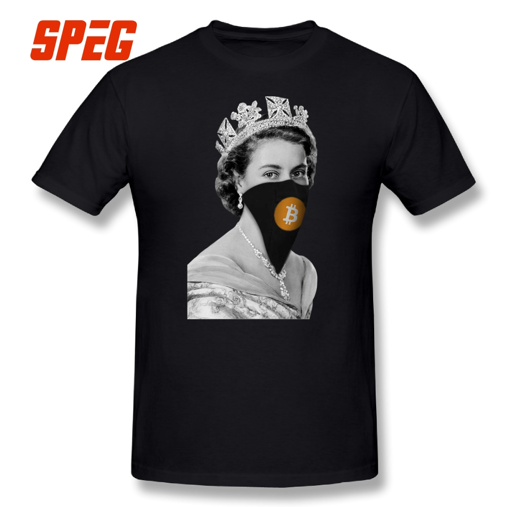Funky camiseta Queen Bitcoin bandido camisetas hombre cuello redondo manga corta Camiseta de los hombres únicos diseño 100% Cottom divertido