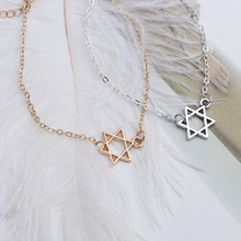 Europe and the United States simple fashion gold silver hollow six-angle star bracelet hollow geometric bracelet female girl jew цена 2017