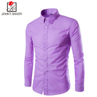 2017 New Fashion Brand Men Shirt 11 ColorsDress Shirt Long Sleeve Slim Fit Camisa Masculina Casual