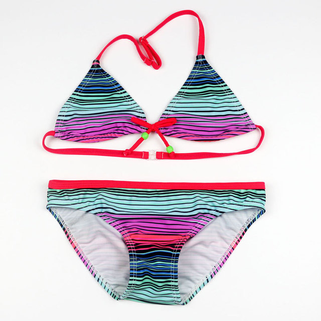 ade4ed35f0 Girls Bikinis 2018 Children Striped Swimwear Swimsuit Baby Kids Swimsuit  Girl Beach Fission Swimsuit Infantiles Costumes Bikini