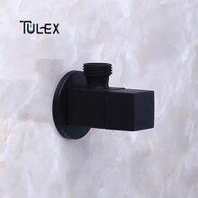TULEX черный запорный клапан Кран угловой клапан латунный переключающий туалетный клапан насадка для душа соединитель твердая латунь Attachement на кран