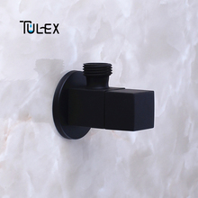 TULEX Black Stop Valve Faucet Angle Valve Brass Diverter Toilet Valve Shower Head Connector Solid Brass Attachement on Crane цены