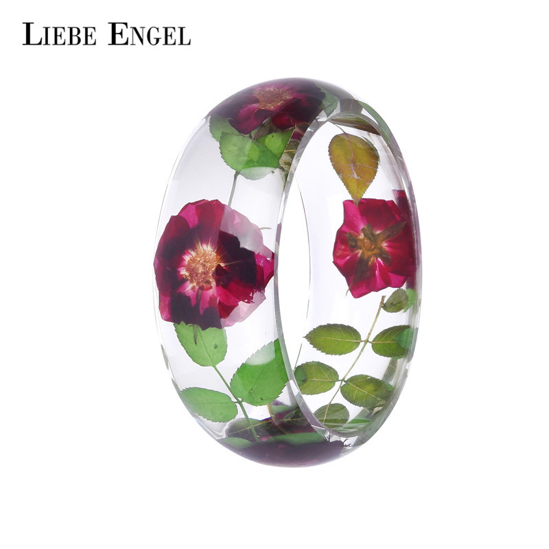 LIEBE ENGEL 3 Size Of Trendy Rose Resin Bangle Green Leaf Bracelet Real Dried Flower Handmade Bracelet Transparent Jewelry Girls