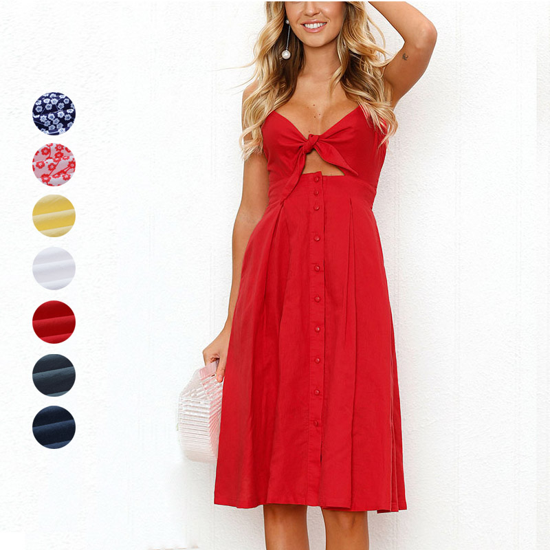 Women Sexy Tie Front V-Neck Spaghetti Strap Dress A-Line Backless Swing Summer Midi Dresses FS99