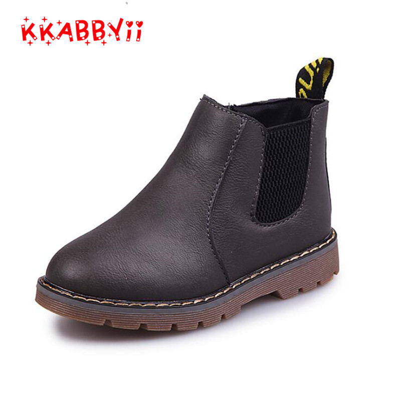 KKABBYII Fashion Boys Girls Boots Kids Shoes Children Boys Martin Boots Handmade Leather Rubber Boots Baby Boys Girls Soft Shoes