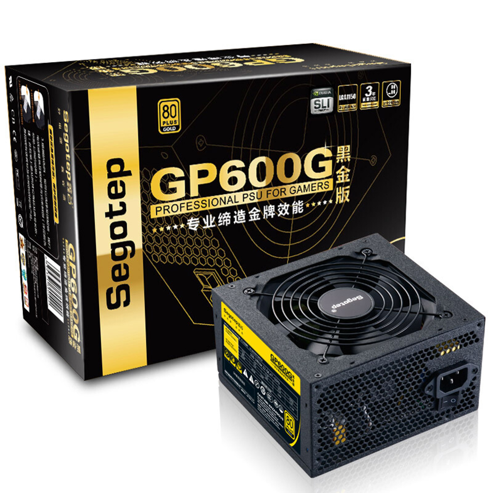Segotep 500 W GP600G ATX PC alimentation ordinateur de bureau PSU 12 V actif PFC 91% efficacité 80 Plus or universel AC 100-240 V