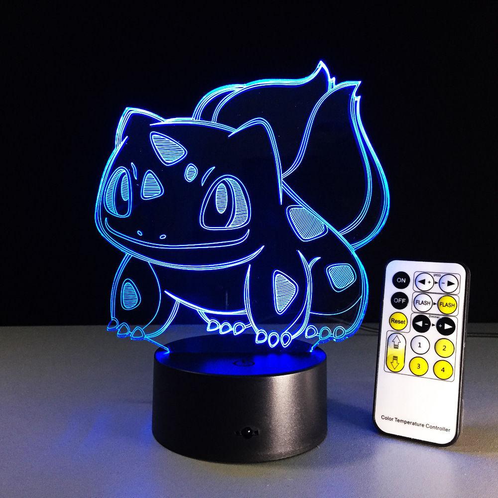 Changing Mood Childrens Kid Gift Pokemon Go 3D Bulbasaur Night Light 7 Colors Change Led Desk Table Home Lamp
