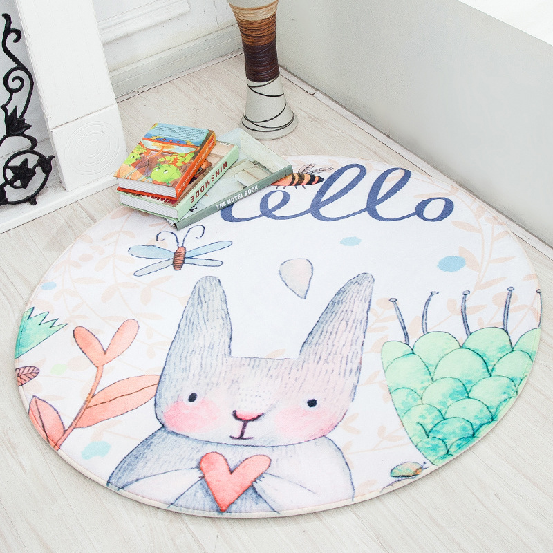fine joy Cute Rabbit Carpet Animal Toys Kids Game Mats Non-Slip Home Rug Baby Crawling Multifunctional Round Blanket Play Mat