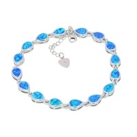Wholesale Retail Fashion 7 5 Inches Fine White Rose Green Blue Fire Opal Bracelet 925 Sterling