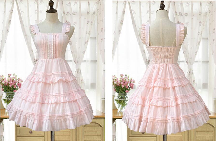 2018 Lolita Court princesse mode rose/blanc fronde sans manches à volants femme robe gothique lolita victorienne douce lolita robe - 3