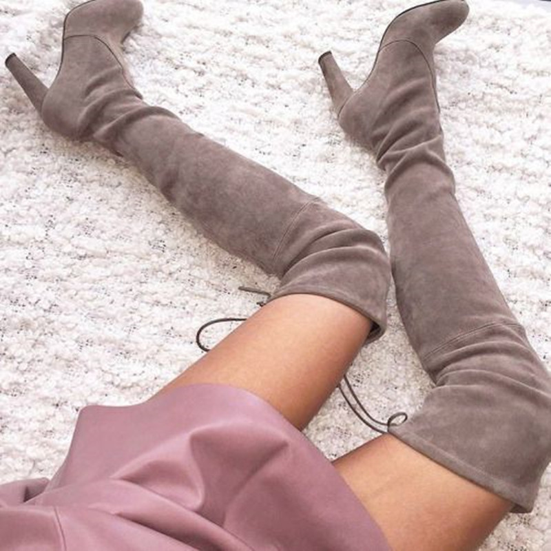 2017 Fall Best Slim Fashion Beige/Black/Grey Stretch Suede Thigh High Boots Over The Knee Women Boots High Heels Women Shoes