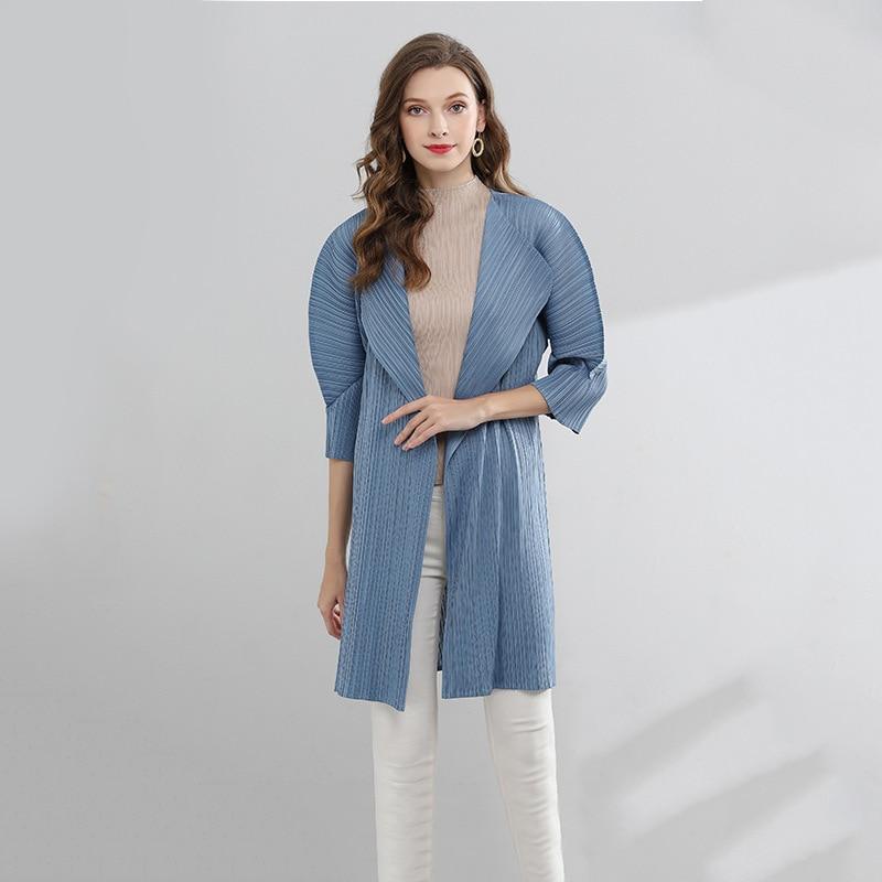 LANMREM 2019 Summer Fashion New Pleated Loose Coat Ligth Thin Long Windbreaker Three Quarter Sleeve Sunscreen