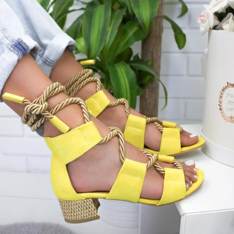 Laamei 2019 New  Espadrilles Women Sandals Heel Pointed Fish Mouth Fashion Sandals Hemp Rope Lace Up Platform Sandal