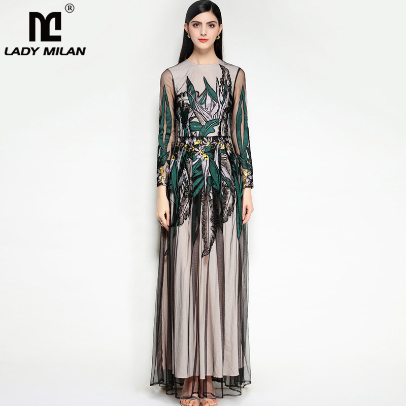 Luxury 2018 Womens O Neck Long Sleeves Embroidery Fashion Party Prom Floor Length Designer Dresses