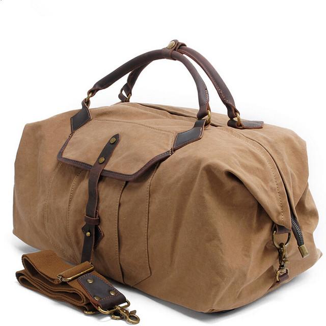Lona Homens Sacos de Viagem Bagagem de mão de Couro de Cavalo Louco sacos de Homens Mochila Mulheres Sacos de Viagem Tote Grande Saco De Fim De Semana durante a noite