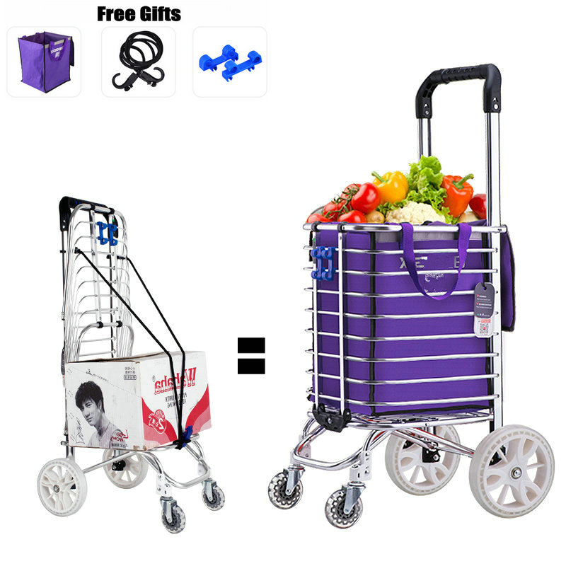 Lightweight 3KG Household Shopping Cart with 35L Large Capacity, 16cm Wheel Portable Shopping Cart Suit For Flat Ground