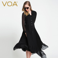 VOA Black Silk Coat Lady Long Section 2016 Autumn New Fashion Was Thin Long Sleeved Silk