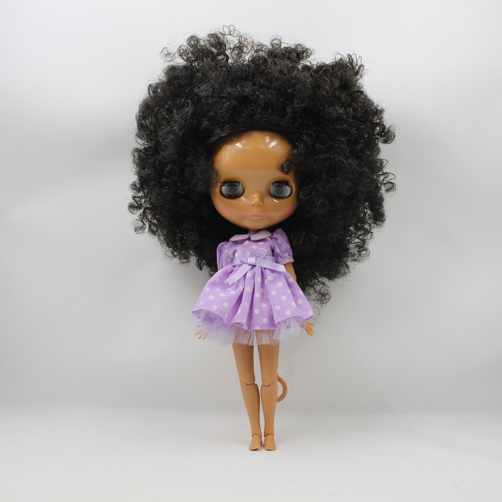 Neo Blythe Doll with Black Hair, Dark Skin, Shiny Face & Jointed Body 2