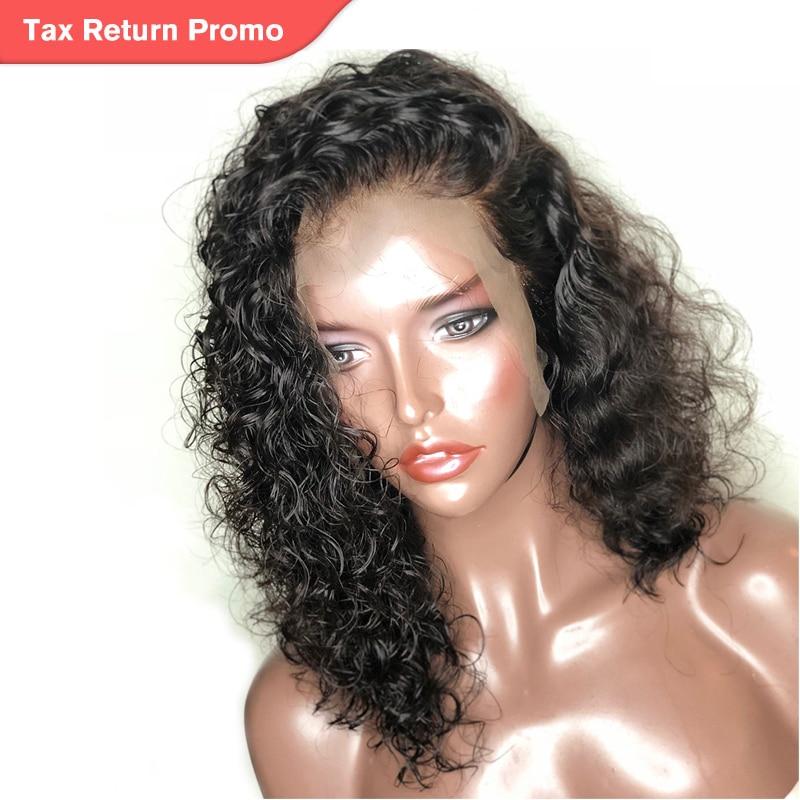 Pendek Wig Rambut Manusia Untuk Wanita Alami Hitam Bergelombang Bob - Rambut manusia (untuk hitam)