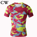 2017 CW exercise  camouflage T-shirt  fitness absorb sweat breathe freely Quick drying Men's tights short sleeve T-shirt