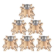 OurWarm 6pcs Snowflake Wooden Candle Holder Laser Cut Tea Light Romantic Wedding Christmas Decoration