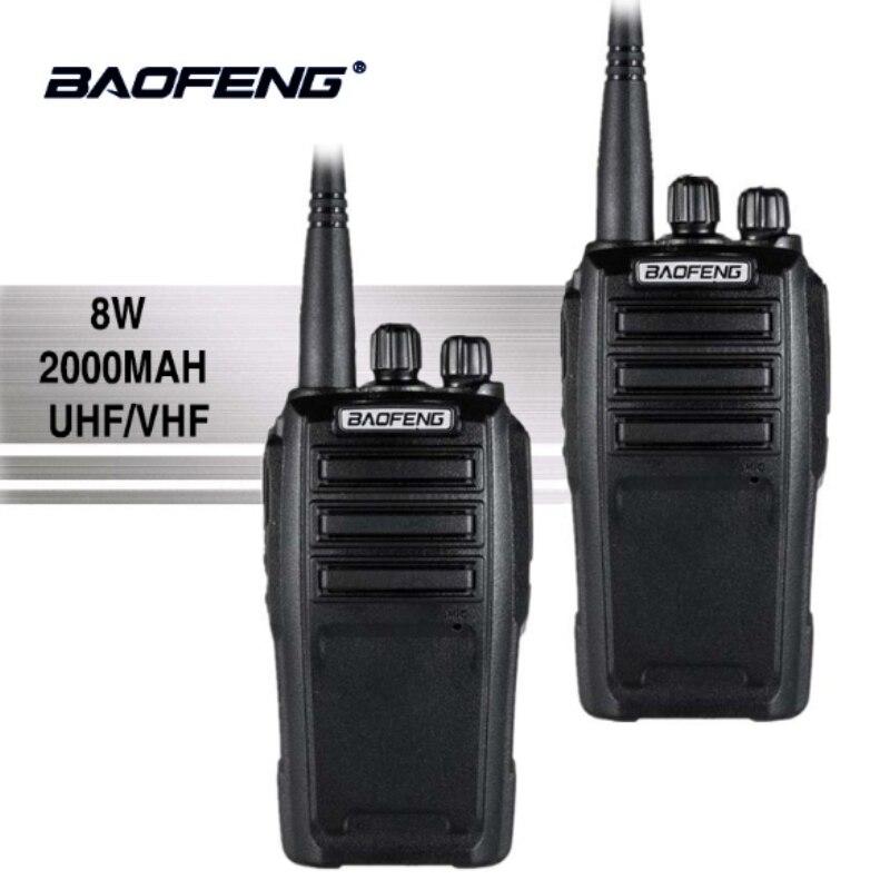 2 шт. Baofeng UV-6 Walkie Talkie 8 Вт 2000 мАч 128 CH UHF VHF Dual Band двухстороннее радио Woki Токи 10 км полиции оборудования радио Амадор
