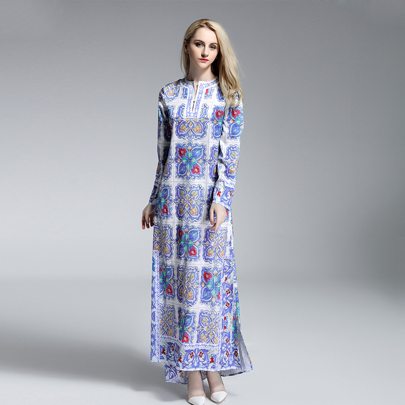 Casual Dress New 2019 Summer Women Full Sleeve Elegant Blue And White Print Loose Retro Fashion