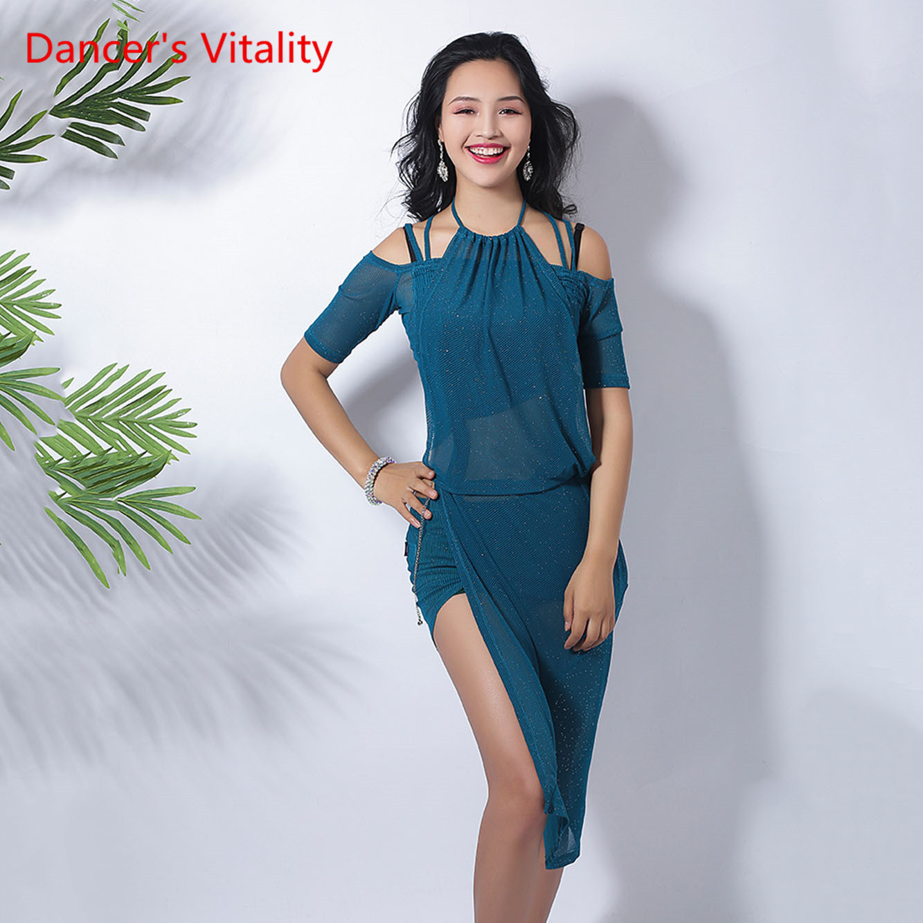 Summer New Belly Dance Practice Clothes Solid Color Sexy Dance Long Skirt Thin Short Sleeve Suit Top+Skirt 2pcs
