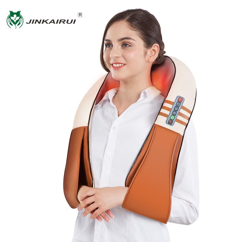 JinKaiRui Electrical Shiatsu Back Neck Shoulder Body Massager Infrared Heated Kneading Car Home Massagem Masajeador heal