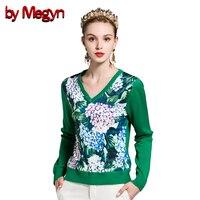 by Megyn Winter sweater Women Fashion 2018 V neck Long Sleeve wool green flower Print Top Jumper Sweater ladies