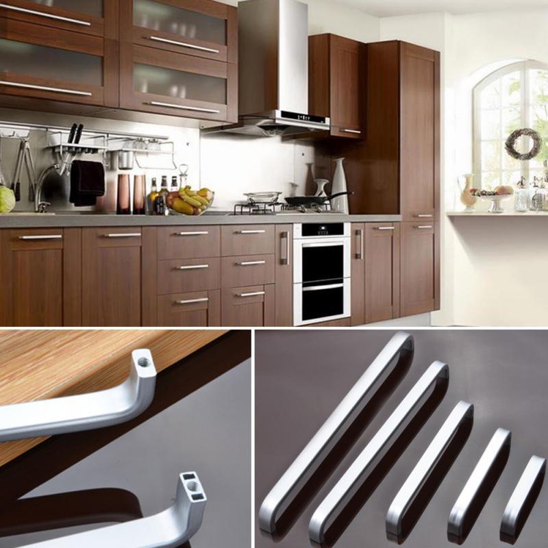 4/6/8/10/12 zoll Raum Aluminium Griffe Küchenschrank Gerade Ziehen ...