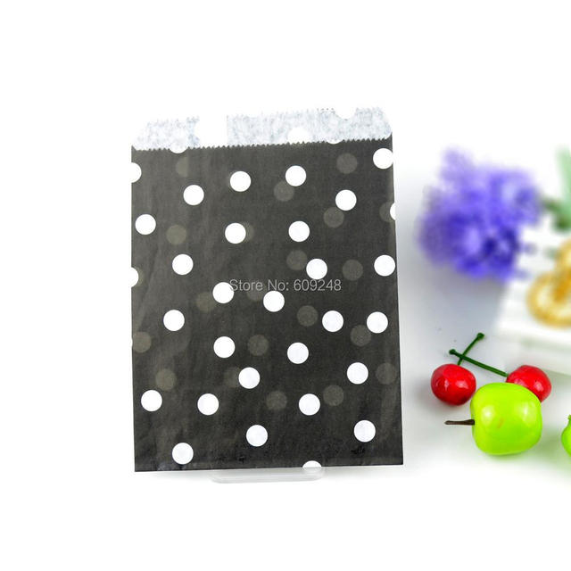 100pcs Mixed Colors Gift Favor Buffet Black Paper Party Candy Treat Bags Small Tiny Polka