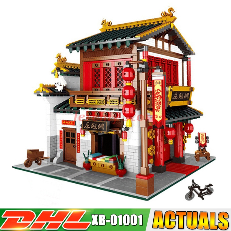 XingBao 01001 Block 2787Pcs Creative Chinese Style The Chinese Silk and Satin Store Set Building Blocks Bricks DIY Toy Model женские сапоги ecco 310413 01001
