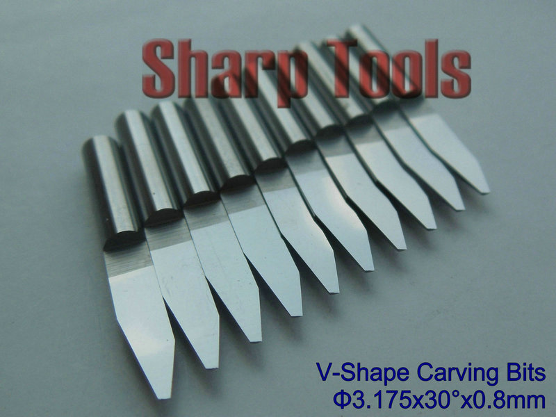 Sharp Инструменты 10x3.175 мм 30 градусов 0.8 мм V Micro концевых pcb ЧПУ гравер бит, карбид Гравировка резак с ЧПУ древесины бит для Акрил