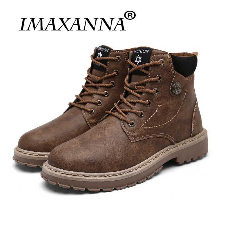 IMAXANNA Brand Genuine Leather Men Boots Autumn Winter Ankle Boots Fashion Footwear Lace Up Shoes High Quality Vintage Men Shoes autumn winter men shoes vintage design fashion genuine leather ankle boots