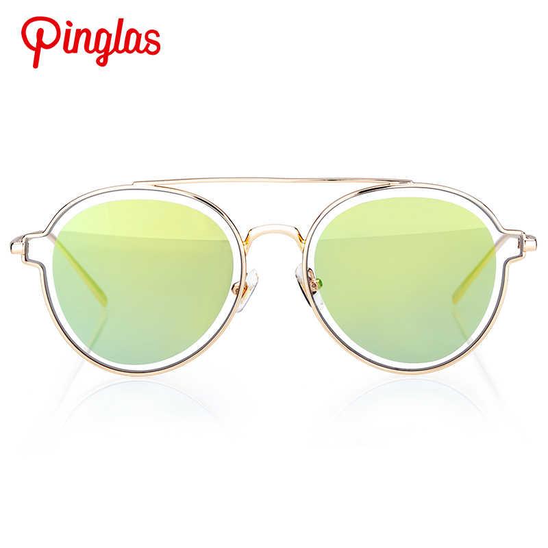 Colossin pinglas óculos de sol redondos feminino twin-beams óculos lente dupla pc designers marca lente clara não polarizada eyewear