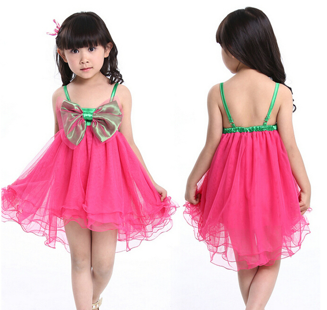 Beautiful party dress for baby girl with front bow cute baby dance ...