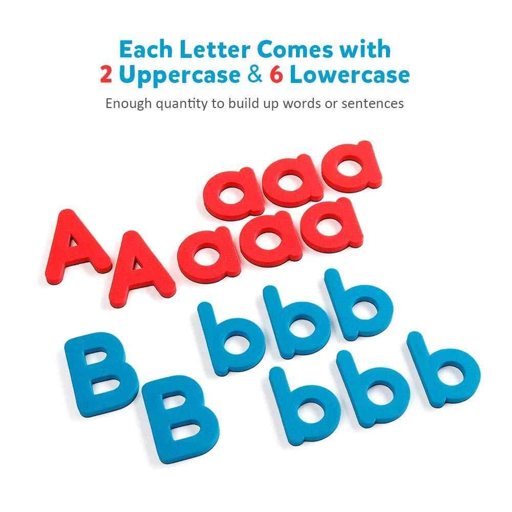 D-FantiX Magnetic Letters 208 Pcs Uppercase Lowercase Foam Alphabet ABC  Magnets for Fridge Refrigerator Educational Toys Set