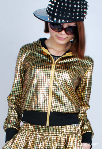 Fashion Jazz Hip-hop Sequined Jacket Costume Women Laser Jackets Tops wear