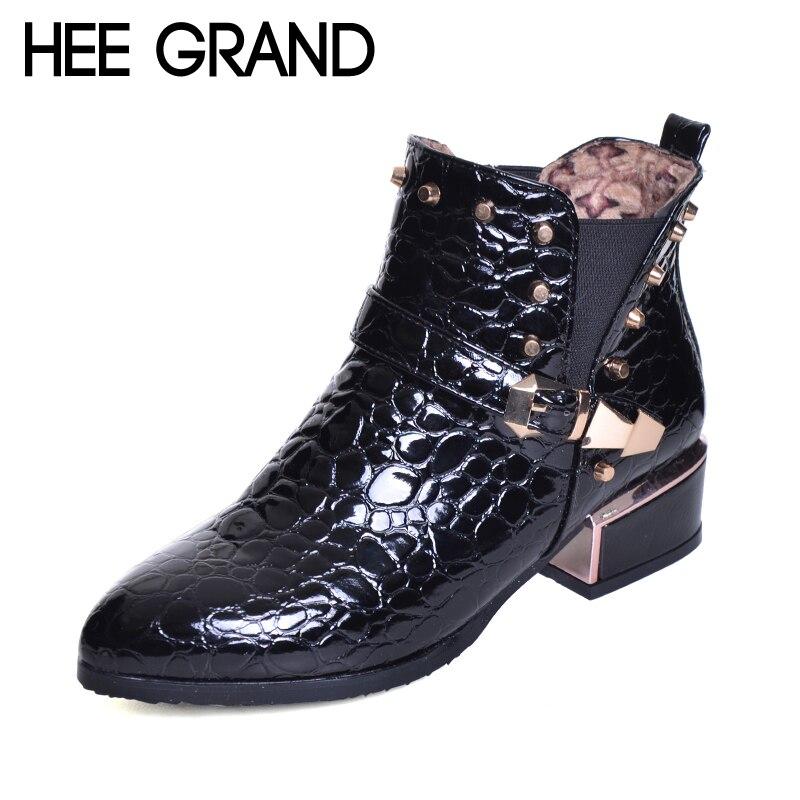 100% QualitäT Hee Grand Niet Dekoration Spitz Schnalle Frauen Mode Stiefel Schlangen Muster Starke Ferse Stiefeletten Xwx6367