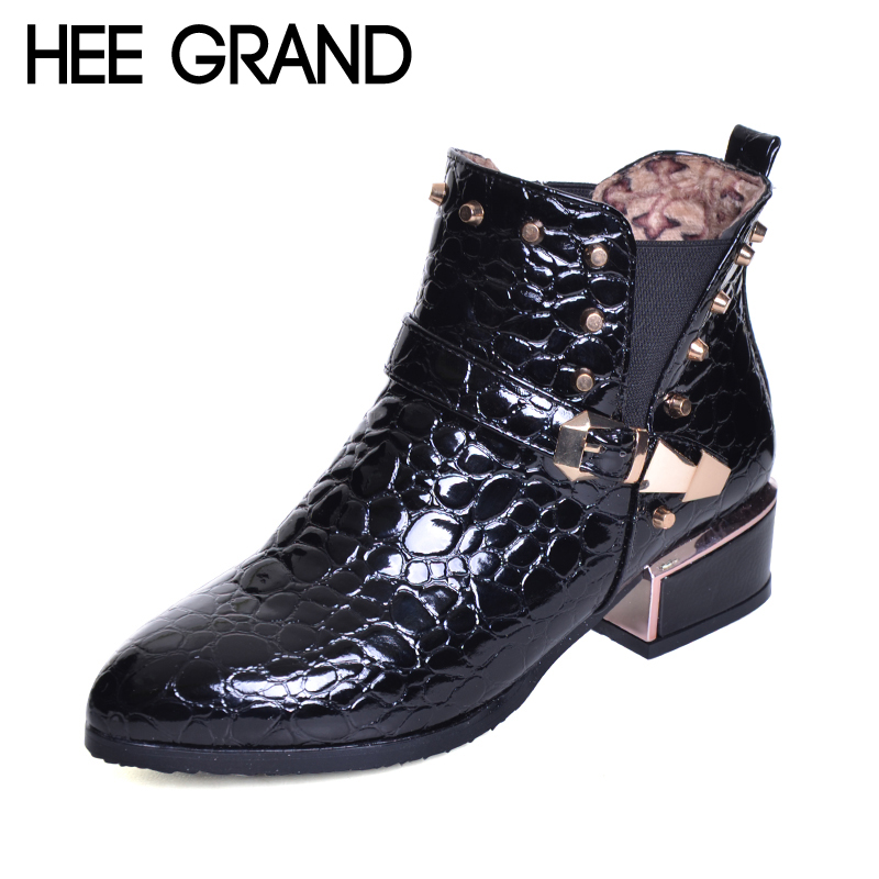 HEE GRAND Rivet Decoration Pointed Toe Buckle Strap Women Fashion Boots Snakeskin Pattern Thick Heel Ankle Boots  XWX6367 camel camel boots cowhide thick heel rivet velvet fashion pointed toe boots vintage casual thermal boots