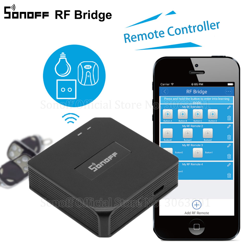 Sonoff RF Bridge WiFi 433 MHz Replacement Smart Home Automation Universal Switch Intelligent Domotica Wi-Fi Remote RF Controller(China)