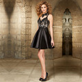 New Black Beaded Appliques Satin Tulle Mini Cocktail Dresses 2016 High Neck Keyhole Back Vestido De Festa Curto Evening Party